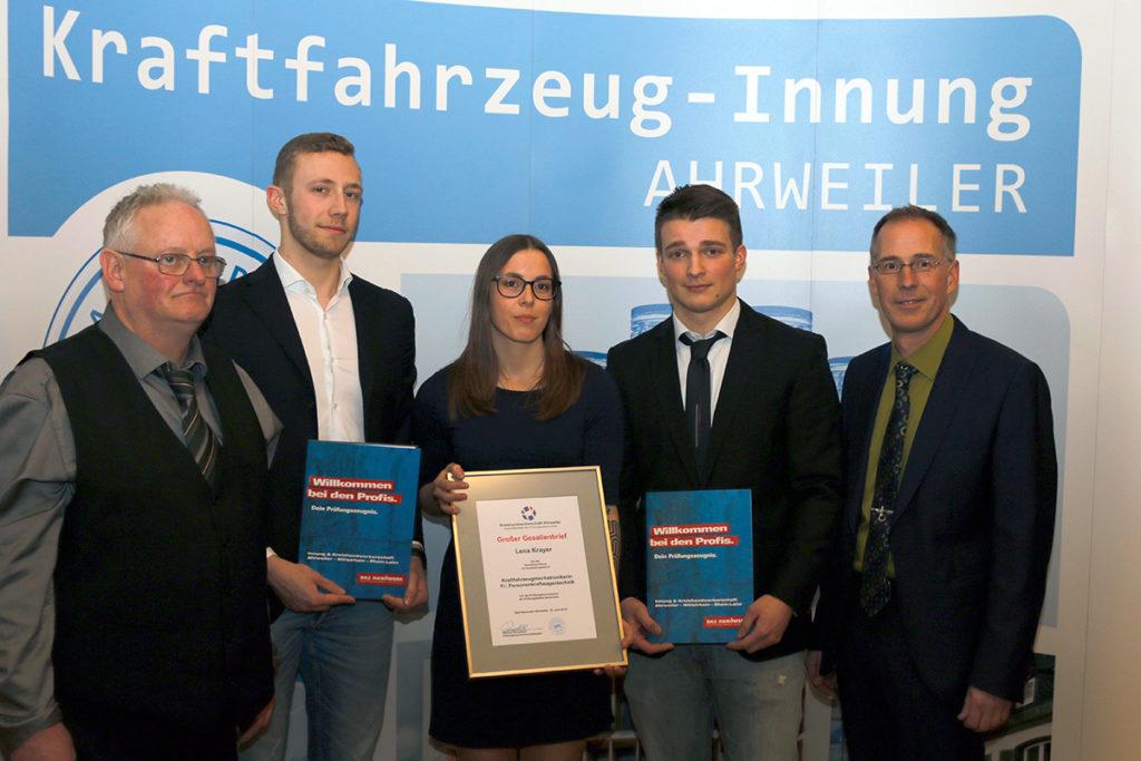Die drei Prüfungsbesten der KFZ-Innung Ahrweiler 2020